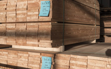 High quality lumber of Larch, ready to be cut into wear layers for our parquet